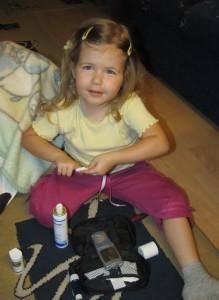 Veronika első önálló vércukormérése 3 évesen